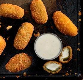Jalapeno Poppers, Breaded, Cream Cheese Filled