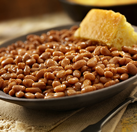 Side Dish, Baked Navy Beans, w/Shredded BBQ Beef and Dark Brown Sugar, AA