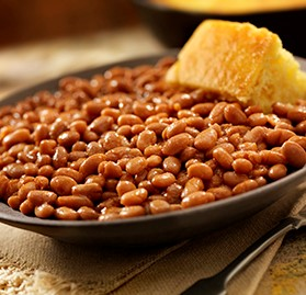 Side Dish, Baked Navy Beans, w/Shredded BBQ Beef