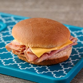 Ham and Cheese Sandwich on WG White Round Bun, IW