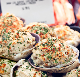 Clams, New England Style Stuffed Clams, 3oz, Cooked