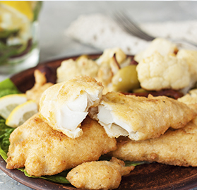 Cod, Battered, Cooked, 2.5-3.5oz