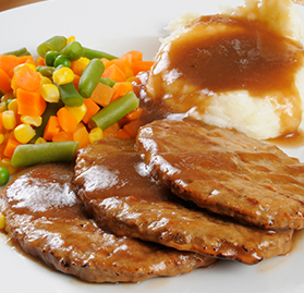 Patty, Beef & Chicken, Salisbury Steak, Oval Shape, FC, Reduced Sodium, 4 oz.