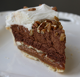 Pie, Luxe Layered Chocolate Mousse and Caramel, w/ Pecans, 10 Slices