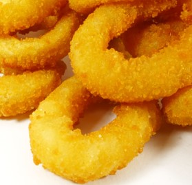 Onion Rings, Breaded, Golden, Minced