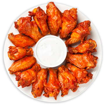 Plate of chicken wings with dipping sauce