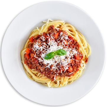Plate of spaghetti with meat sauce