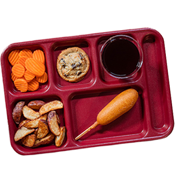 Tray with various food items