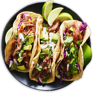 Plate with three tacos