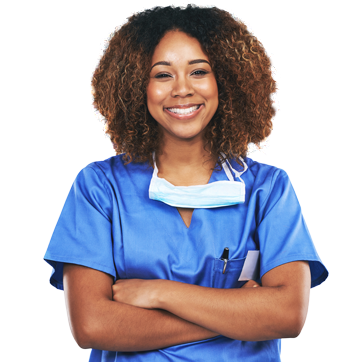Female healthcare worker in scrubs